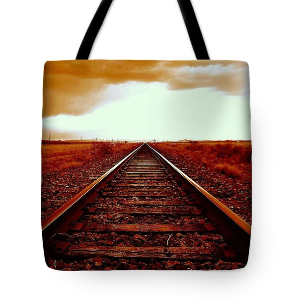 Marfa Texas America Southwest Tracks To California Tote Bag