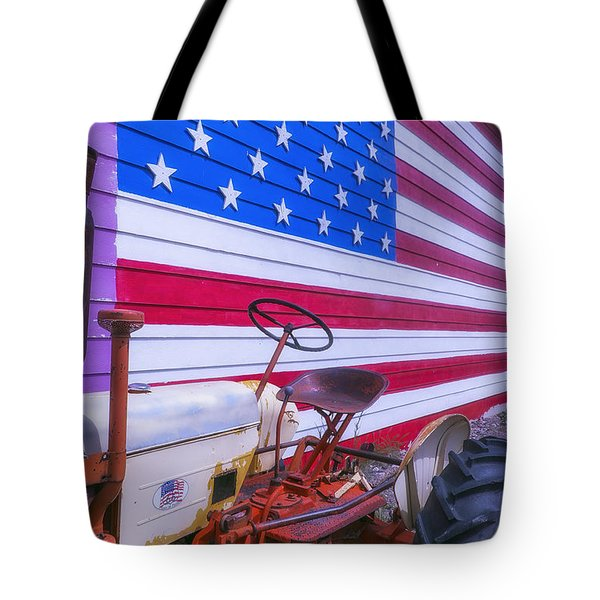 Tractor And Large Flag Tote Bag