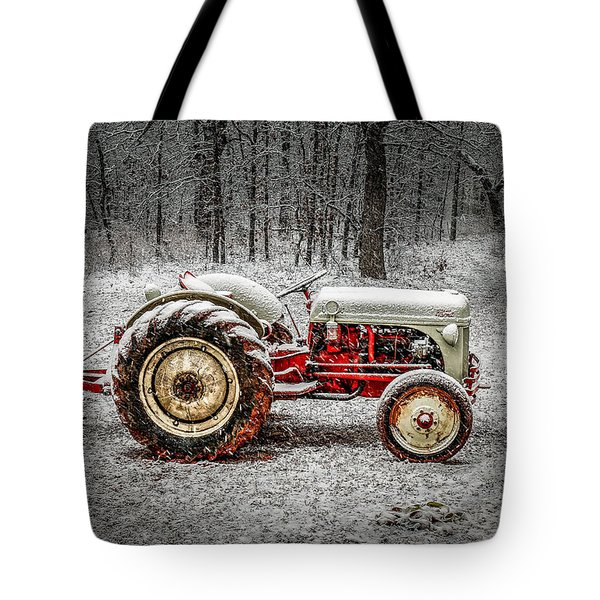 Tractor In The Snow Tote Bag