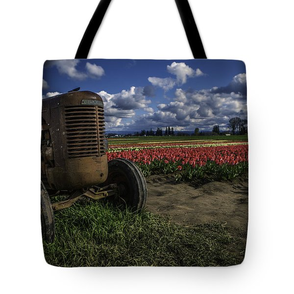 Tractor N' Tulips Tote Bag