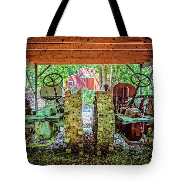 Tote Bag featuring the photograph Tractors Side By Side by Debra and Dave Vanderlaan