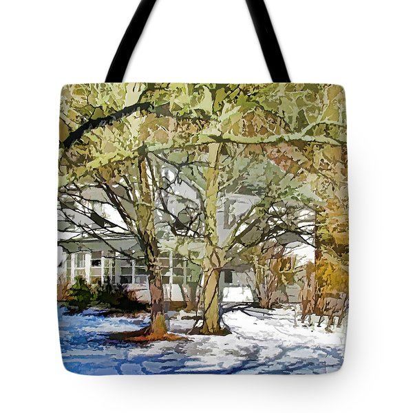 Traditional American Home In Winter Tote Bag by Lanjee Chee