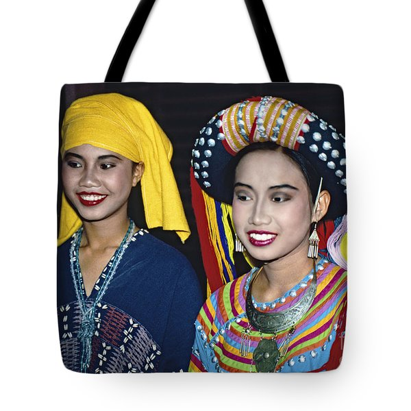 Tote Bag featuring the photograph Traditional Dressed Thai Ladies by Heiko Koehrer-Wagner