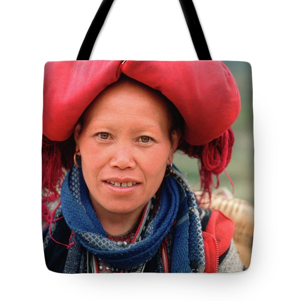 Traditional Fashion Of A Red Dzao Woman Tote Bag