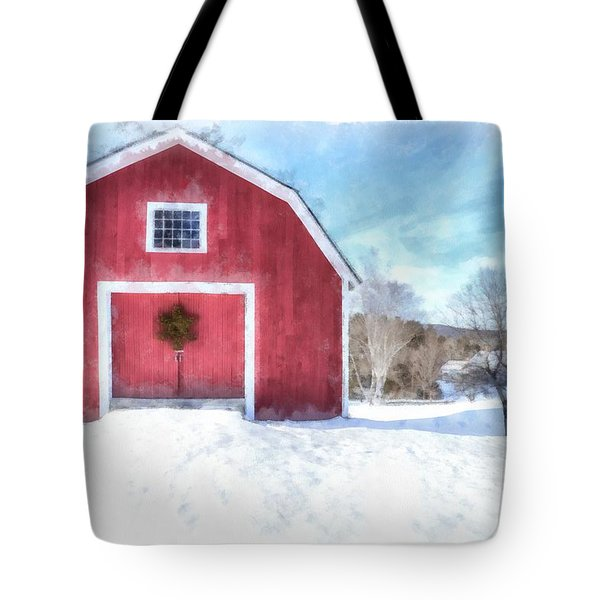 Traditional New England Red Barn In Winter Watercolor Tote Bag