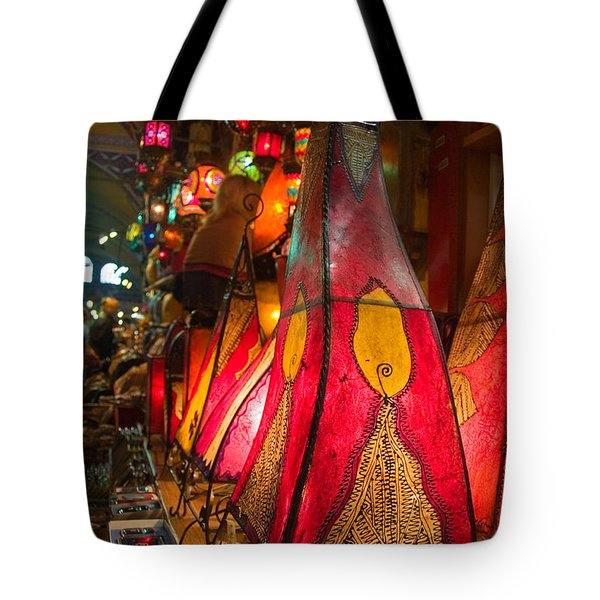 Traditional Oriental Skin Lamps In Istanbul  Grand Bazar Tote Bag