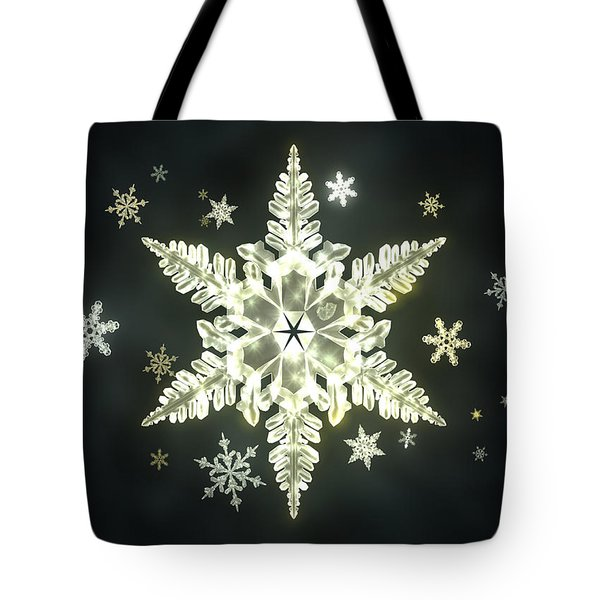 Traditional Sunlight Snowflakes Tote Bag