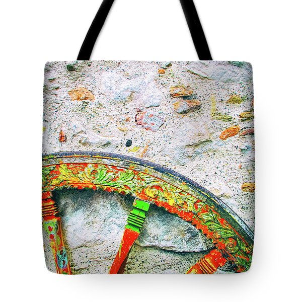 Tote Bag featuring the photograph Traditional Sicilian Cart Wheel Detail by Silvia Ganora