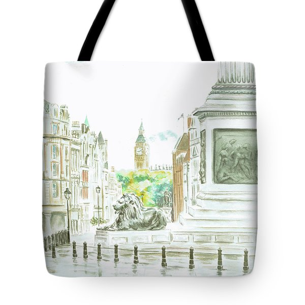 Tote Bag featuring the painting Trafalgar Square by Elizabeth Lock
