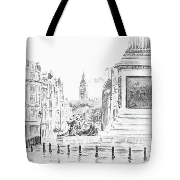 Tote Bag featuring the digital art Trafalgar Square II by Elizabeth Lock