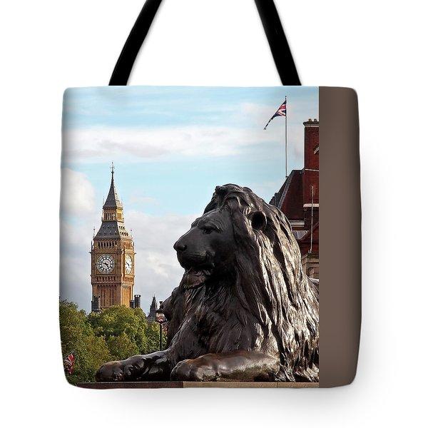 Trafalgar Square Lion With Big Ben Tote Bag by Gill Billington