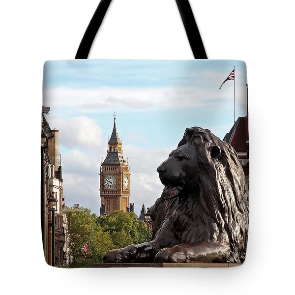Trafalgar Square Lion With Big Ben Tote Bag