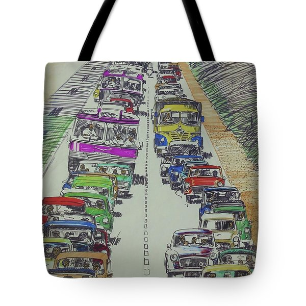Tote Bag featuring the drawing Traffic 1960s. by Mike Jeffries