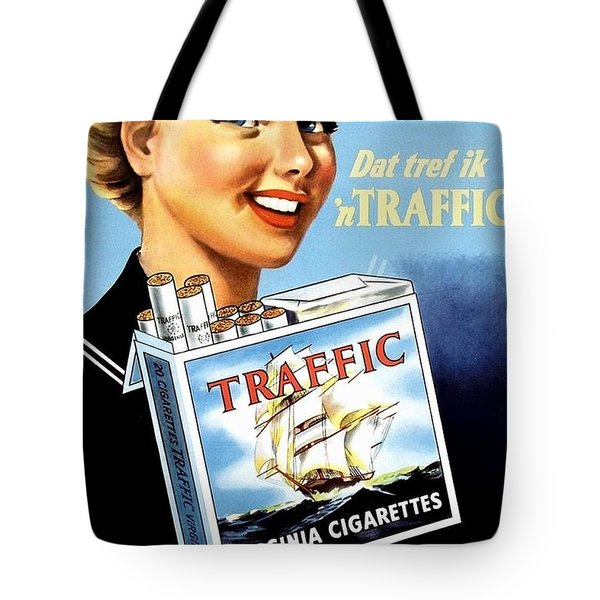 Tote Bag featuring the digital art Traffic Cigarette by Reinvintaged