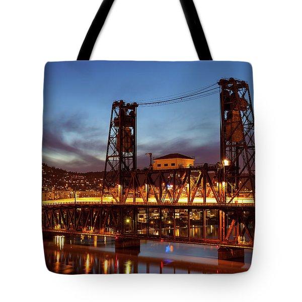 Traffic Light Trails On Steel Bridge Tote Bag by David Gn