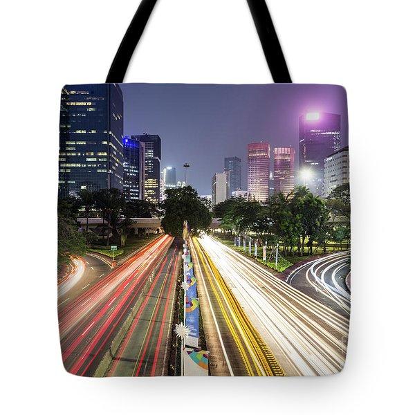 Traffic Night Rush In Jakarta, Indonesia Capital City.  Tote Bag