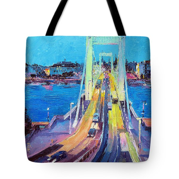Traffic On Elisabeth Bridge At Dusk Tote Bag