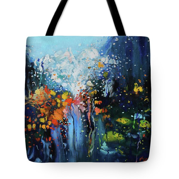 Tote Bag featuring the painting Traffic Seen Through A Rainy Windshield by Dan Haraga