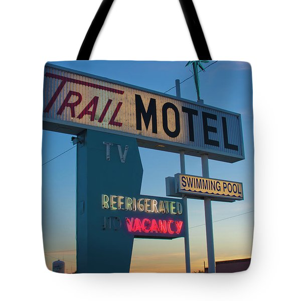 Trail Motel At Sunset Tote Bag