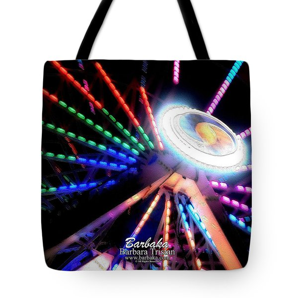 Trail Of Lights Abstract #7486 Tote Bag by Barbara Tristan