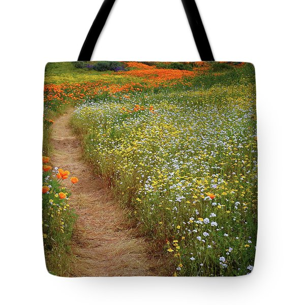 Tote Bag featuring the photograph Trail Of Wildflowers At Diamond Lake In California by Jetson Nguyen