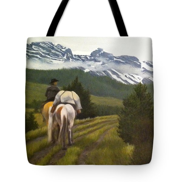 Tote Bag featuring the painting Trail Ride by Tammy Taylor
