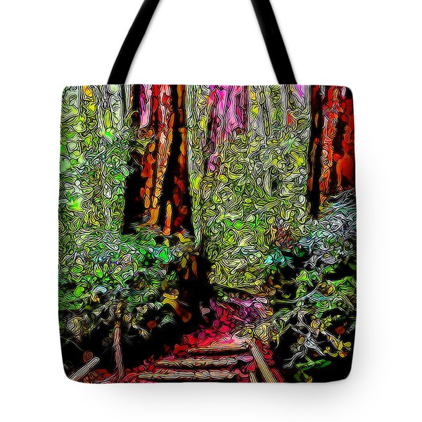 Tote Bag featuring the digital art Trail Through The Redwoods - Tamalpais California by Joel Bruce Wallach