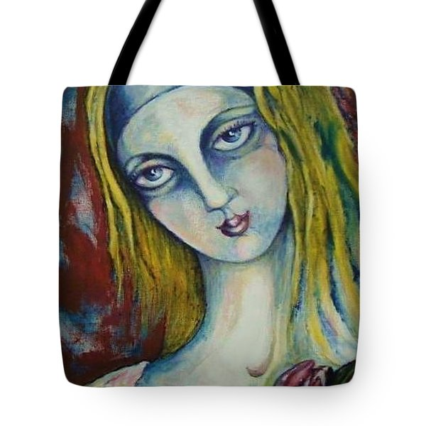 Tote Bag featuring the painting Trailer Park Madonna by Rae Chichilnitsky