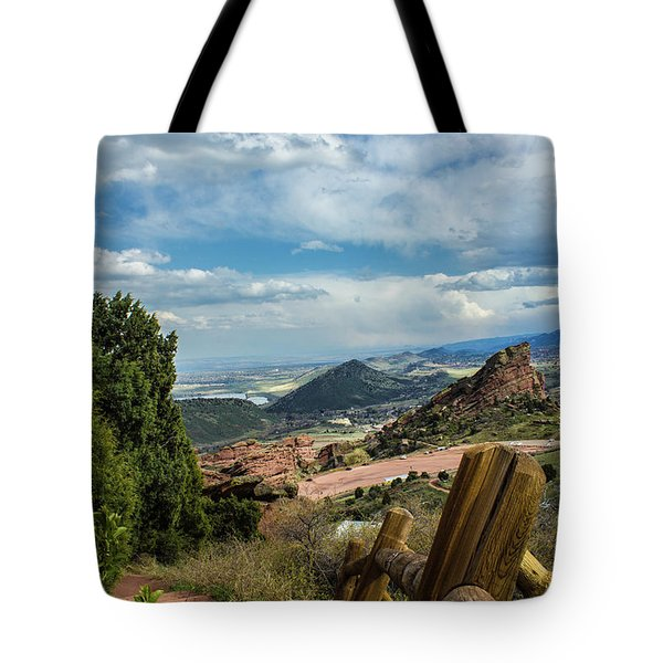 Tote Bag featuring the photograph Trails At Red Rocks by Tyson Kinnison