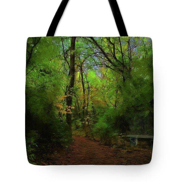 Trailside Bench Tote Bag by Cedric Hampton