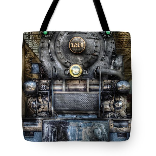 Train - Engine -1218 - Norfolk Western Class A - 1218 - Front View Tote Bag by Mike Savad