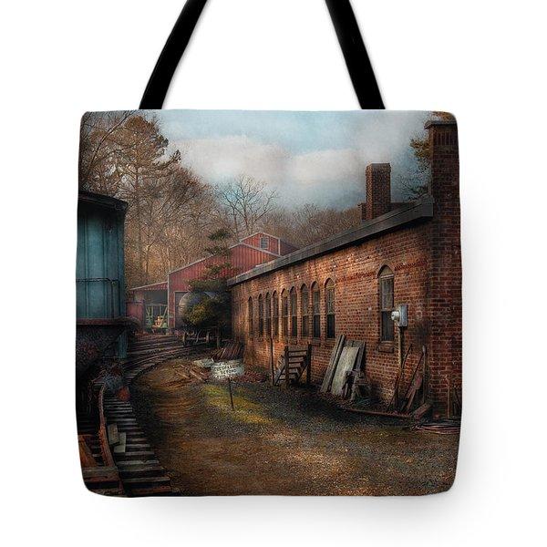 Train - Yard - The Train Yard Tote Bag by Mike Savad