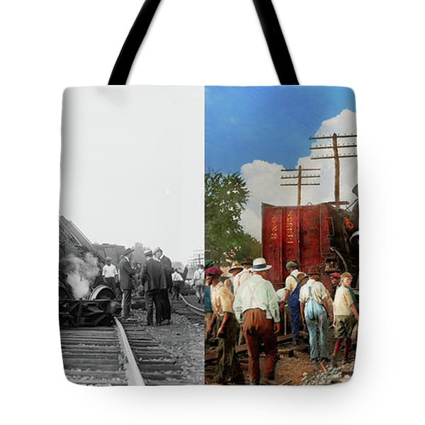 Train - Accident - Butting Heads 1922 - Side By Side Tote Bag by Mike Savad