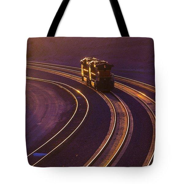 Train At Sunset Tote Bag