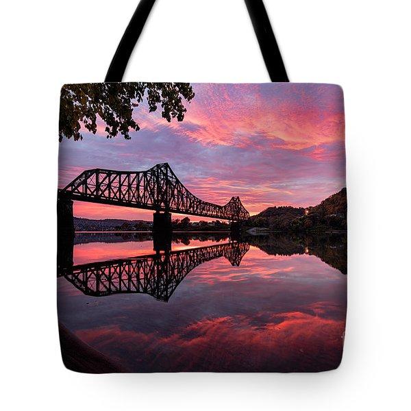 Train Bridge At Sunrise  Tote Bag