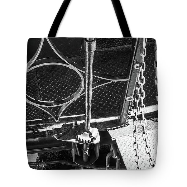 Tote Bag featuring the photograph Train Car Connections by Colleen Coccia