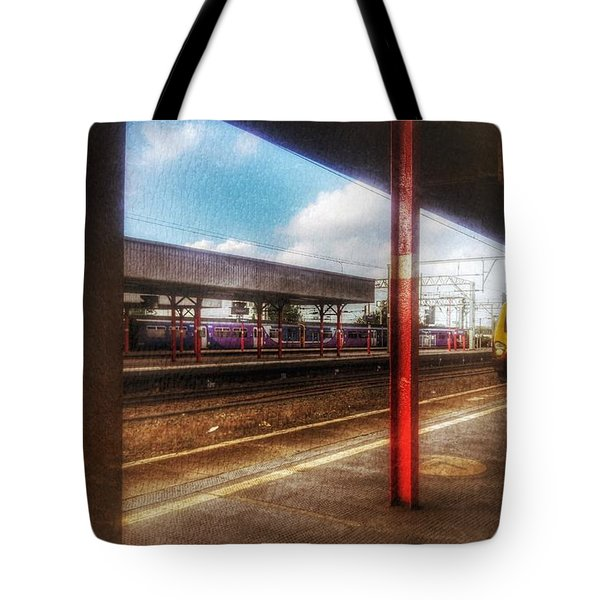 Tote Bag featuring the photograph Train Coming In by Isabella F Abbie Shores FRSA
