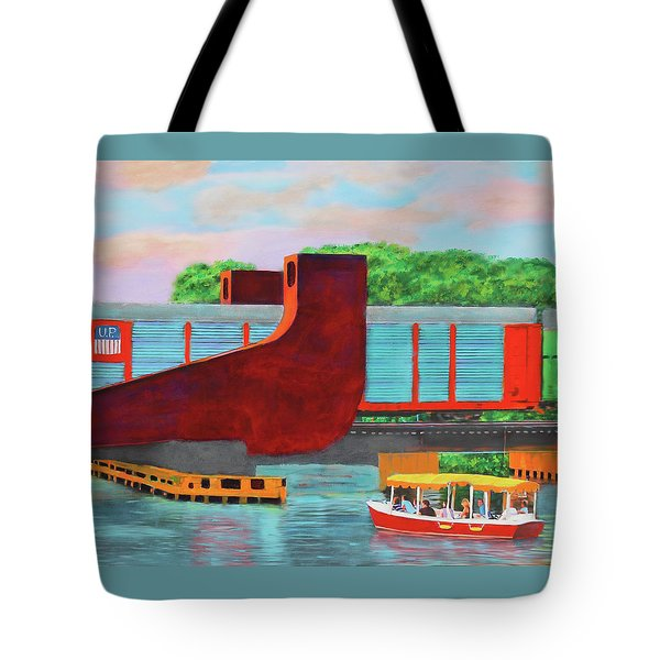 Train Over The New River Tote Bag