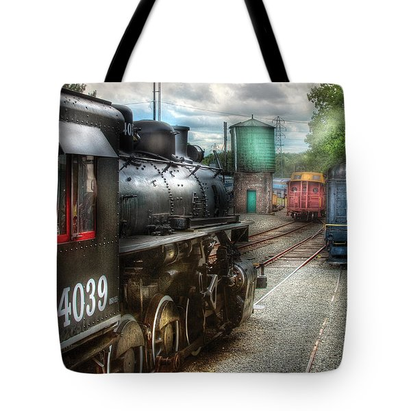 Train - Engine - 4039 - In The Train Yard  Tote Bag by Mike Savad