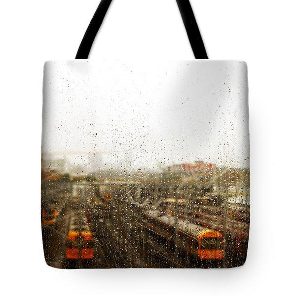 Train In The Rain Tote Bag