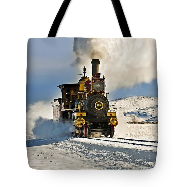 Train In Winter Tote Bag