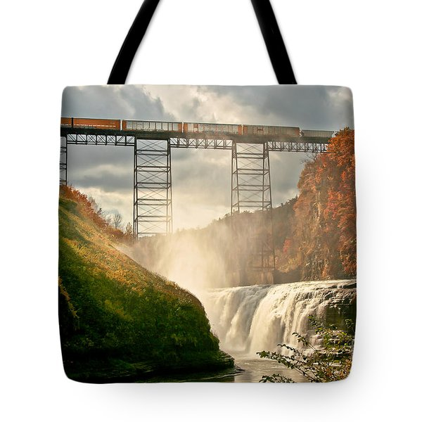 Train Over Letchworth Tote Bag by Ken Marsh