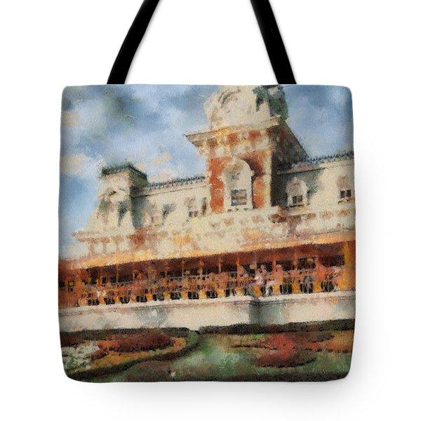 Train Station At Magic Kingdom Tote Bag by Paulette B Wright