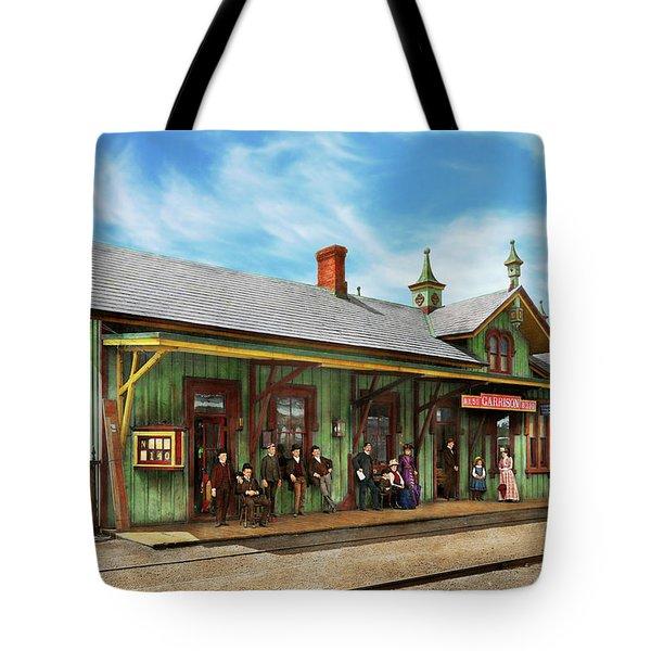 Train Station - Garrison Train Station 1880 Tote Bag by Mike Savad