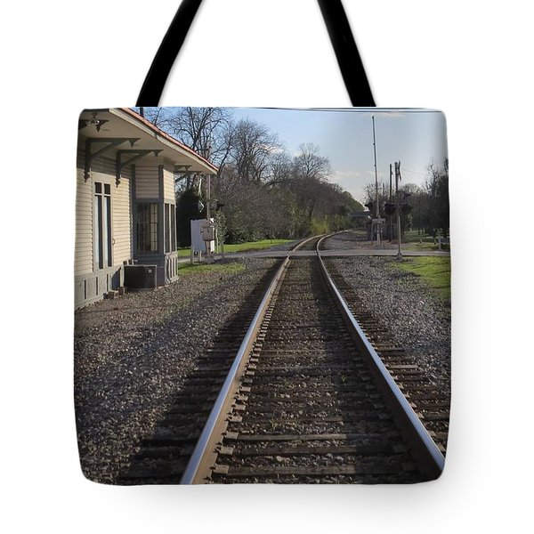 Tote Bag featuring the photograph Train Station View by Aaron Martens