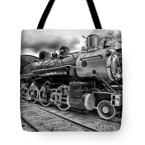 Train - Steam Engine Locomotive 385 In Black And White Tote Bag