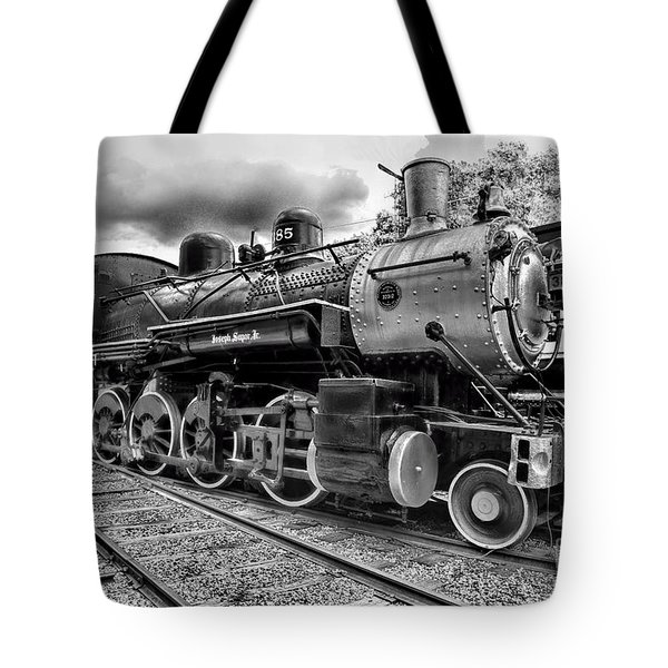 Train - Steam Engine Locomotive 385 In Black And White Tote Bag