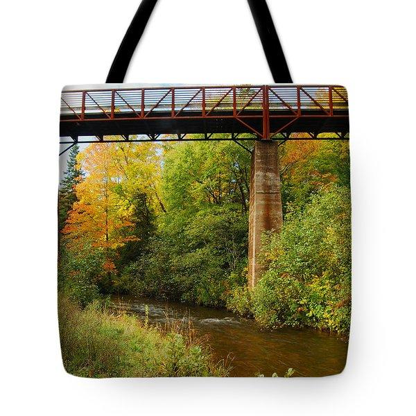 Train Trestle Tote Bag by Michael Peychich