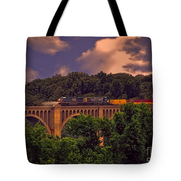 Tote Bag featuring the photograph Train Trestle Over The James by Melissa Messick