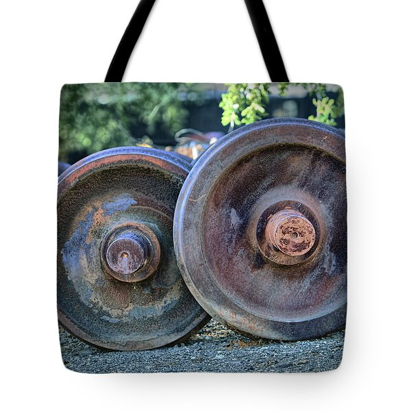 Train Wheels Tote Bag by Steve Siri